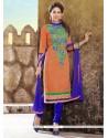 Glorious Chanderi Blue And Orange Churidar Designer Suit
