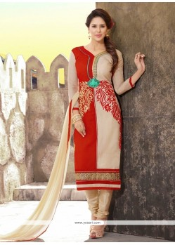 Divine Resham Work Chanderi Cream And Red Churidar Designer Suit