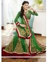 Green Embroidery Net Fish Cut Lehenga Choli