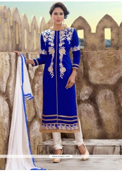 Aspiring Embroidered Work Chanderi Churidar Designer Suit