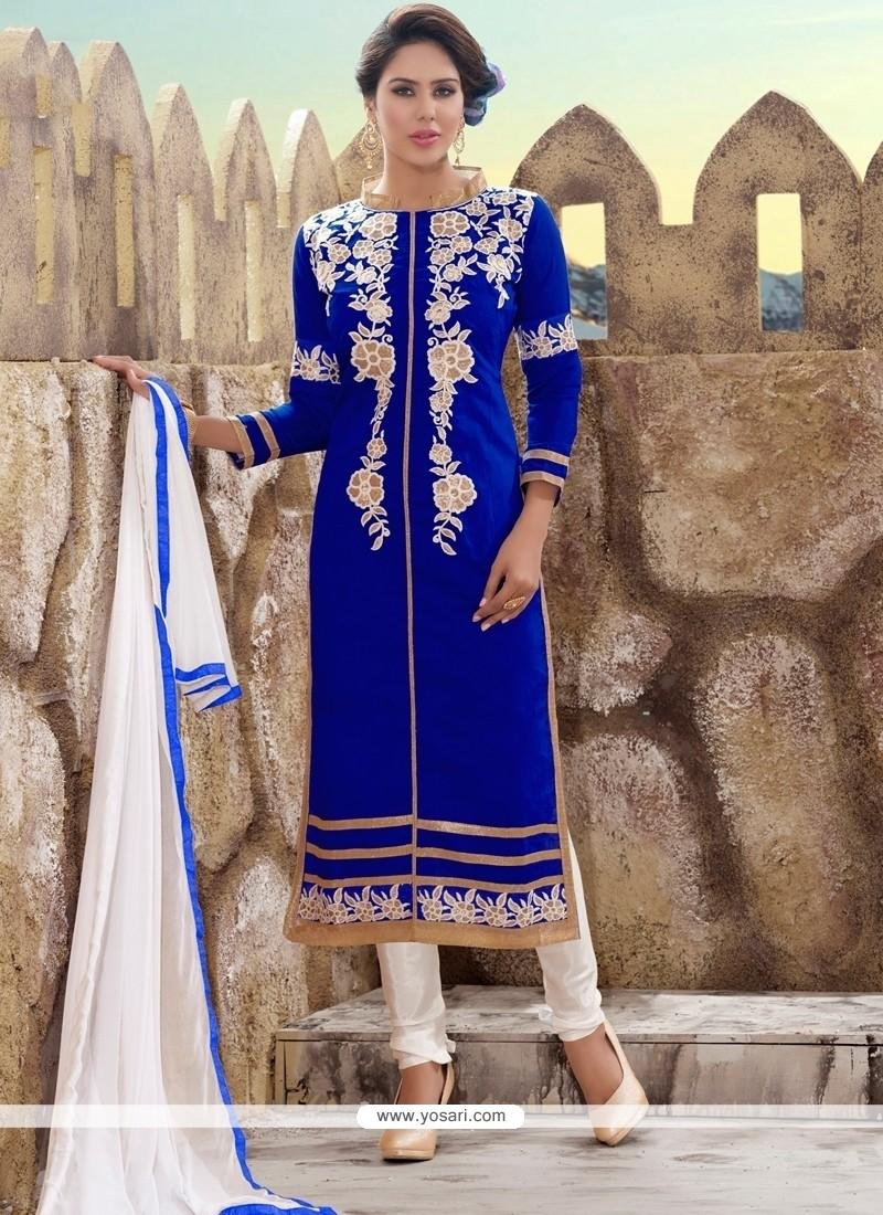 d0906ead3b Shop online Aspiring Embroidered Work Chanderi Churidar Designer Suit