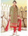 Lurid Chanderi Beige And Red Churidar Designer Suit