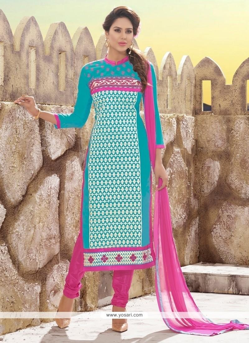 Adorning Chanderi Pink And Turquoise Resham Work Churidar Designer Suit