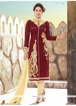 Enthralling Resham Work Brown And Cream Churidar Designer Suit