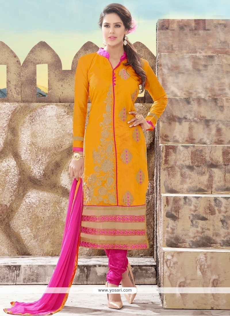 Spellbinding Embroidered Work Chanderi Churidar Designer Suit