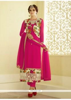Monumental Georgette Hot Pink Resham Work Designer Straight Salwar Suit