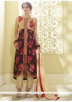 Mod Georgette Embroidered Work Designer Straight Salwar Kameez