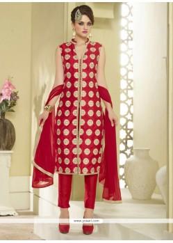 Whimsical Resham Work Designer Straight Salwar Suit