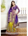 Earthy Yellow Border Work Net Lehenga Choli