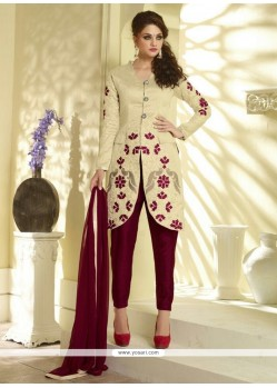 Magnificent Embroidered Work Bhagalpuri Silk Pant Style Suit