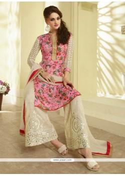 Fascinating Resham Work Silk Pink Designer Palazzo Suit