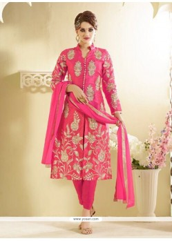 Talismanic Bhagalpuri Silk Hot Pink Designer Straight Salwar Kameez