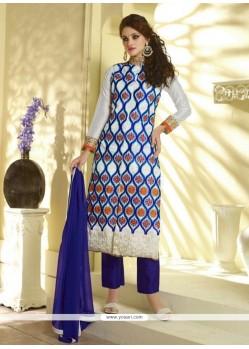 Pleasing Blue Resham Work Silk Designer Pakistani Salwar Suit