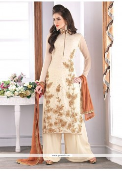 Cream Faux Chiffon Designer Palazzo Salwar Kameez
