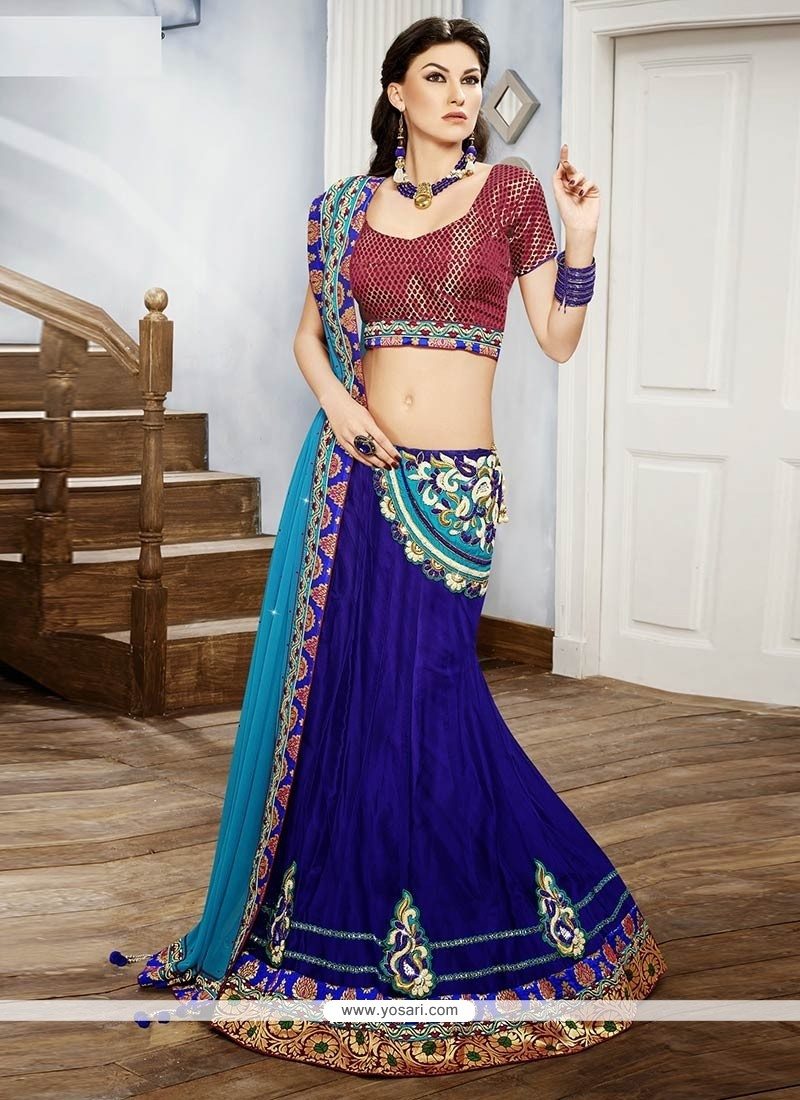 Bedazzling Blue Velvet Fish Cut Lehenga Choli
