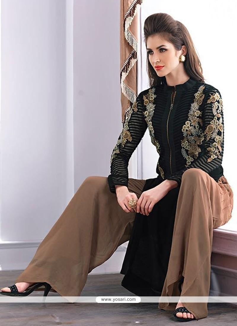 Remarkable Georgette Black Designer Palazzo Salwar Kameez