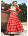 Lustrous Patch Border Work Raw Silk Anarkali Salwar Kameez