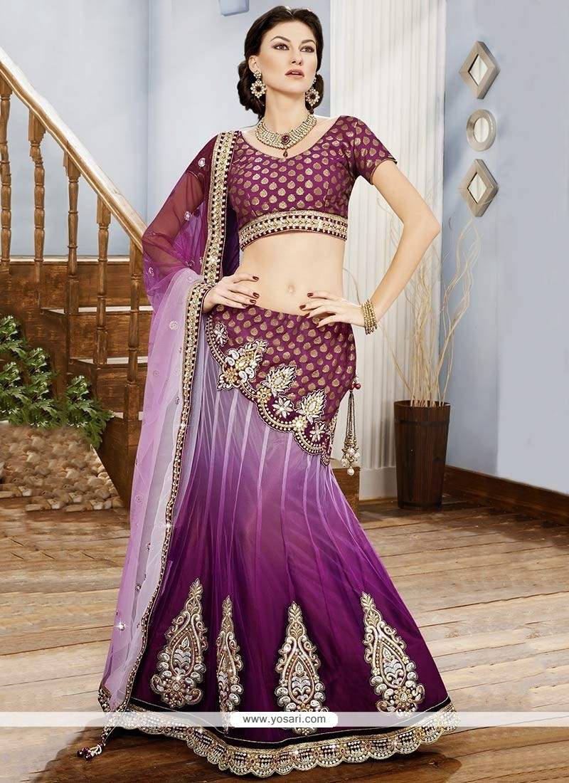 Peppy Purple Embroidery Net Lehenga Choli