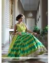 Lovely Green And Yellow Mirror Work Anarkali Salwar Kameez