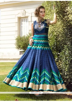 Gratifying Blue And Sea Green Anarkali Salwar Kameez