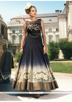 Splendid Black Raw Silk Anarkali Salwar Kameez