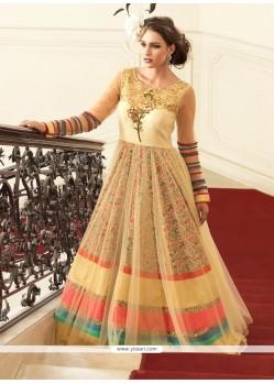 Suave Cream Net Anarkali Salwar Kameez