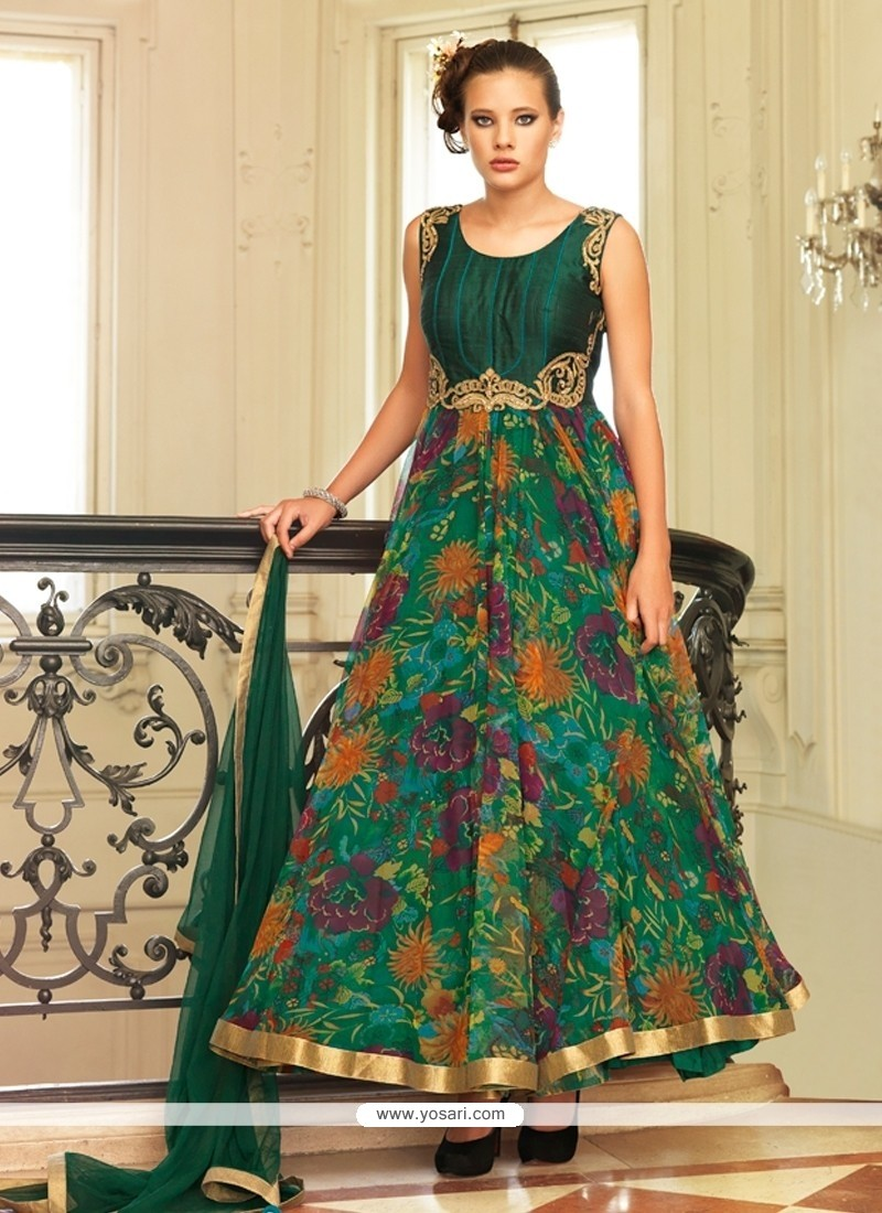 Excellent Green Anarkali Salwar Kameez