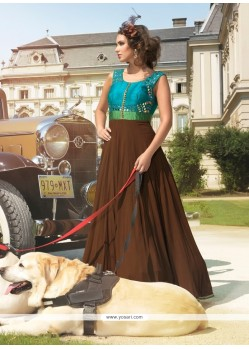 Capricious Brown And Sea Green Georgette Anarkali Salwar Kameez