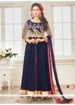 Competent Resham Work Blue Net Designer Salwar Suit