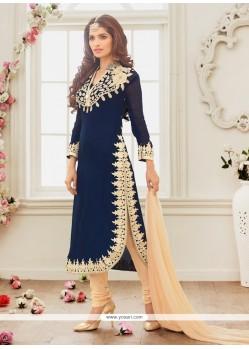 Exquisite Blue Embroidered Work Georgette Churidar Salwar Kameez