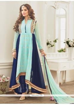 Integral Georgette Blue Lace Work Designer Salwar Kameez