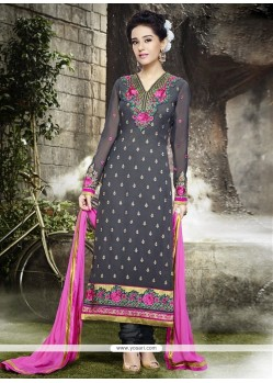 Groovy Georgette Embroidered Work Designer Straight Salwar Kameez