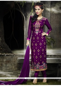 Entrancing Georgette Purple Designer Straight Salwar Suit