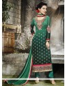 Voguish Embroidered Work Georgette Designer Straight Salwar Suit