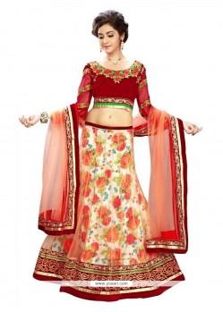 Superb Red Aari Work Net A Line Lehenga Choli