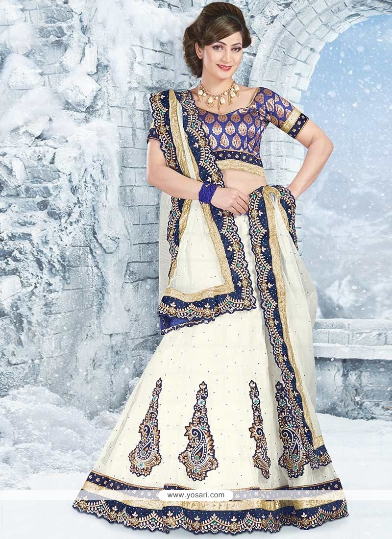 Beautiful Off White Applique Work Embroidered Lehenga Choli