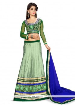 Splendid Embroidered Work Green A Line Lehenga Choli
