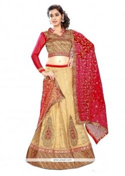 Nice Resham Work Silk A Line Lehenga Choli