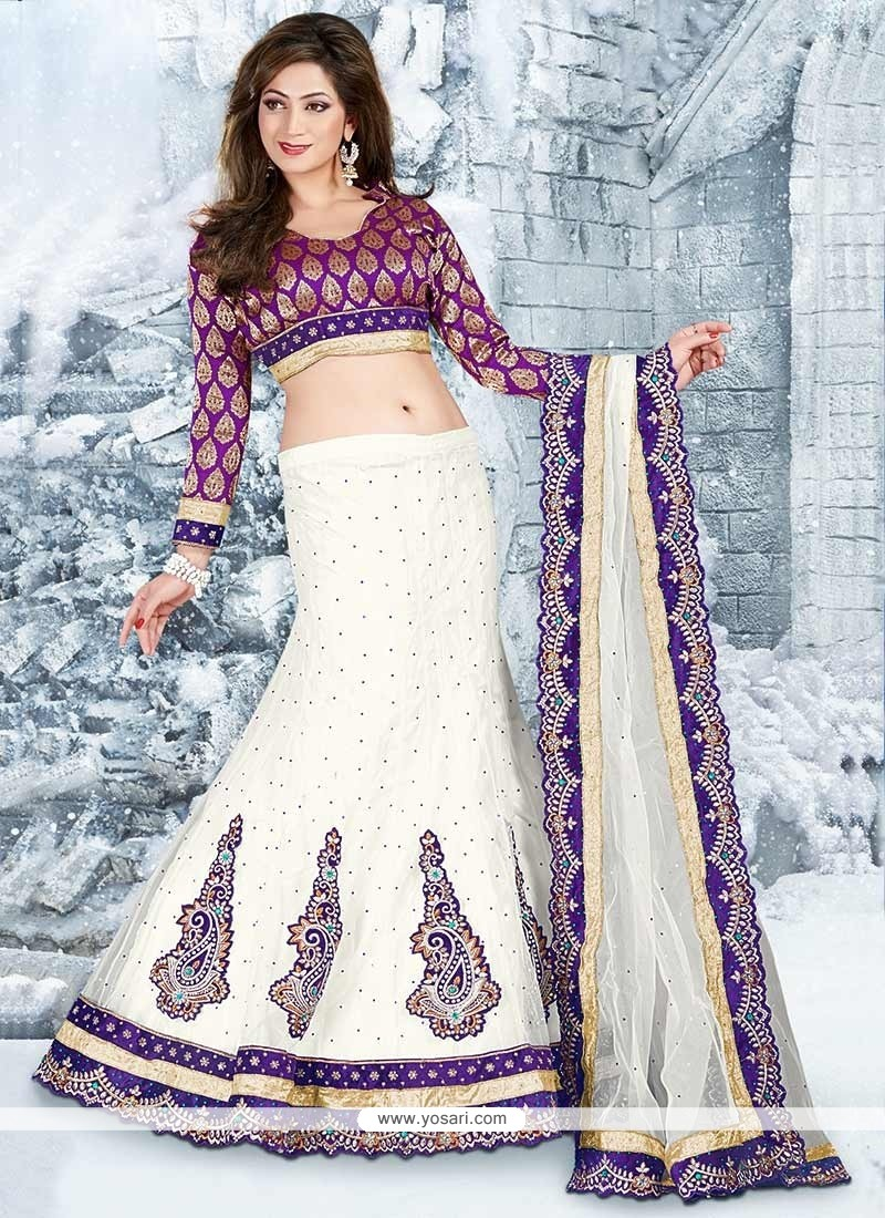 Off White And Blue Border Work Net Lehenga Choli