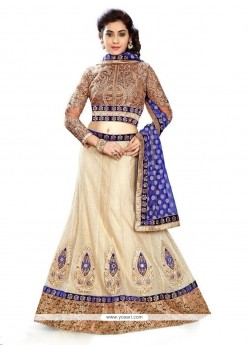 Observable Patch Border Work Beige A Line Lehenga Choli