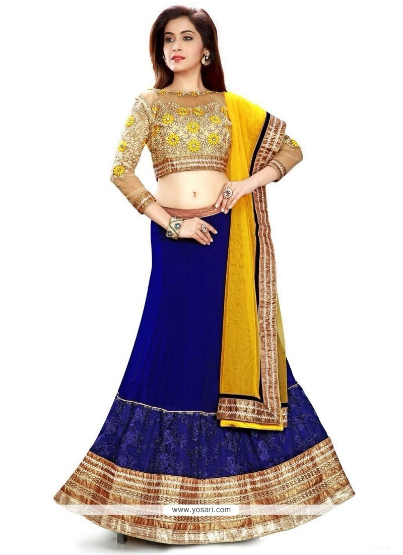 Distinctive Georgette Blue A Line Lehenga Choli