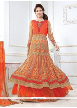 Aesthetic Orange Net A Line Lehenga Choli