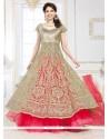 Dignified Beige And Pink Resham Work A Line Lehenga Choli