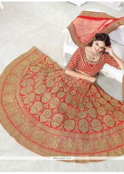 Floral Art Silk Red A Line Lehenga Choli