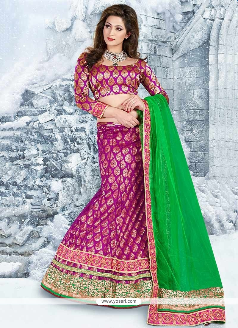 Green And Magenta Jacquard Net Lehenga Choli