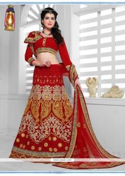 Astounding Net Red A Line Lehenga Choli