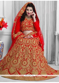 Magnificent Embroidered Work Red A Line Lehenga Choli