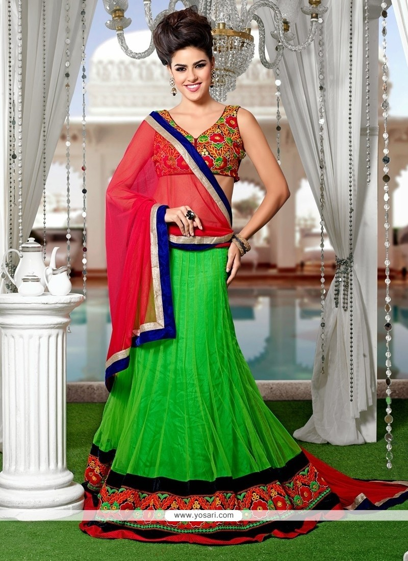 Savory Net Green Patch Border Work A Line Lehenga Choli