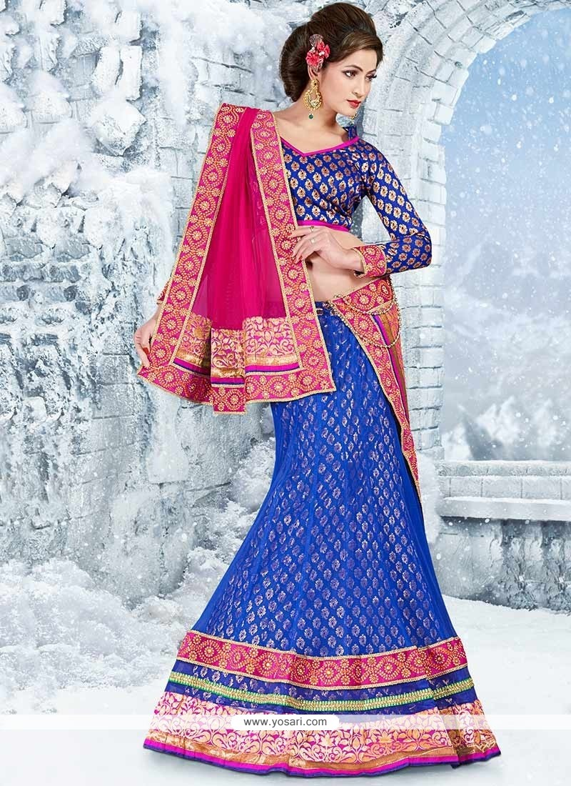 Navy Blue Net Jacquard Wedding Lehenga Choli