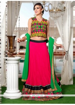 Brilliant Patch Border Work Hot Pink A Line Lehenga Choli
